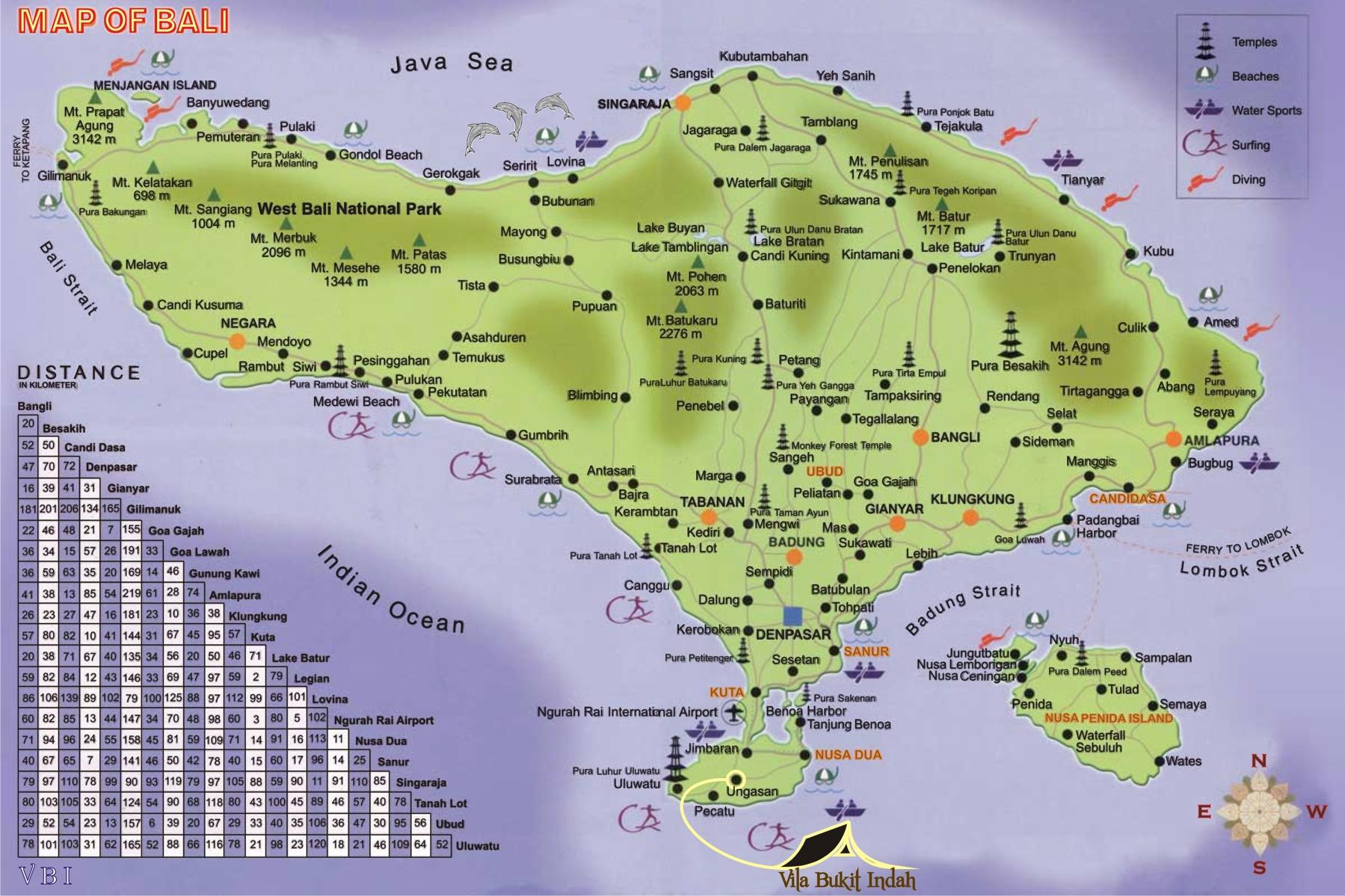 Map of Bali « Welkom bij Vila Bukit Indah
